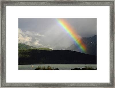 Rainbow Over Seward And Resurrection Framed Print by Michel Hersen