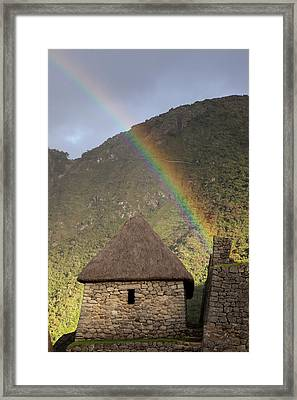Rainbow Over Thatched Stone Hut Framed Print by Jaynes Gallery