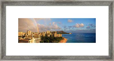 Rainbow Over The Beach, Diamond Head Framed Print by Panoramic Images