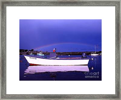 Rainbow Over The Cribstone Framed Print by Donnie Freeman