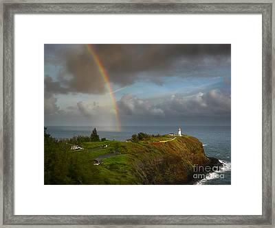 Rainbow Over Kilauea Lighthouse On Kauai Framed Print