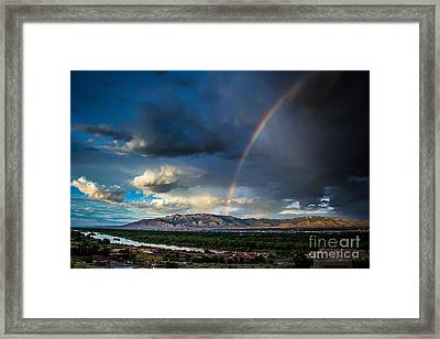 Rainbow Over The Sandias Framed Print by Jim McCain