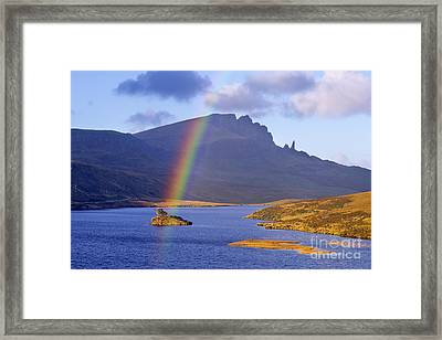 Rainbow Over The Storr Framed Print by Derek Croucher