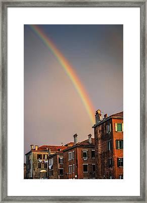 Rainbow Over Venice Framed Print by John Wong