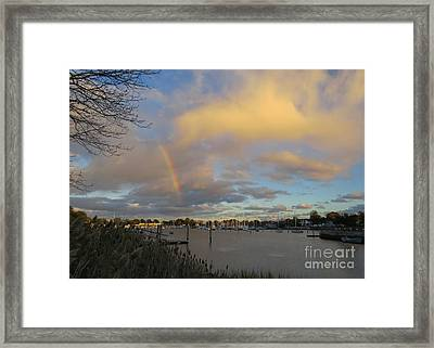 Rainbow Over Wickford Framed Print