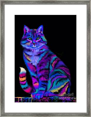 Rainbow Painted Tiger Cat Framed Print by Nick Gustafson
