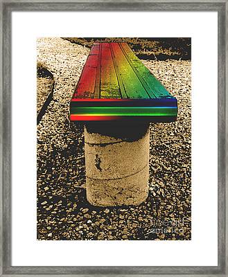 Rainbow Park Bench Framed Print by ImagesAsArt Photos And Graphics