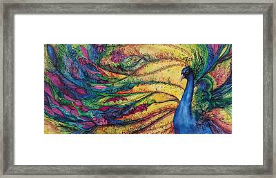 Rainbow Peacock Framed Print