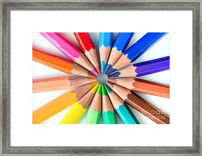 Rainbow Pencils Framed Print by Delphimages Photo Creations