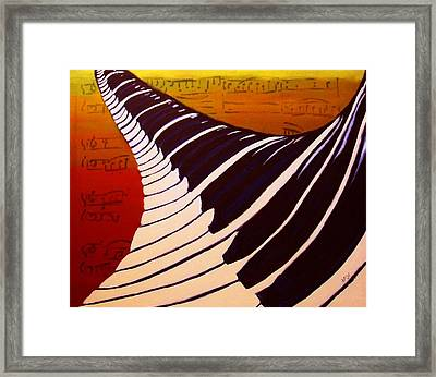 Rainbow Piano Keyboard Twist In Acrylic Paint With Sheet Music Notes In Blue Yellow Orange Red Framed Print