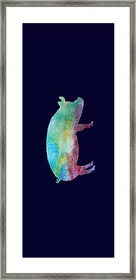 Rainbow Pig Framed Print by Jenny Armitage
