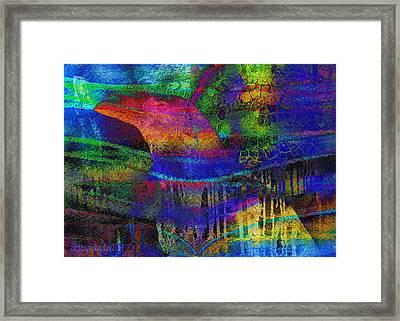 Rainbow Raven Framed Print