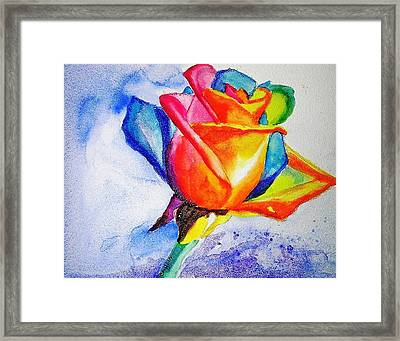 Rainbow Rose Framed Print