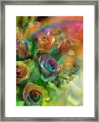 Rainbow Roses Framed Print by Carol Cavalaris