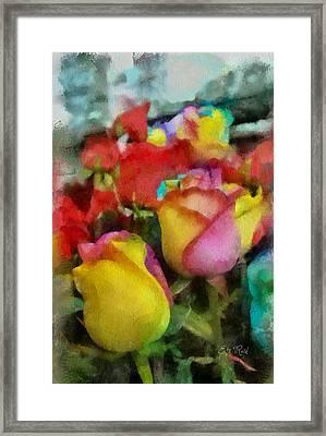 Rainbow Roses Watercolor Digital Painting Framed Print by Eti Reid