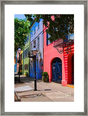 Rainbow Row Charleston Framed Print by Skip Willits
