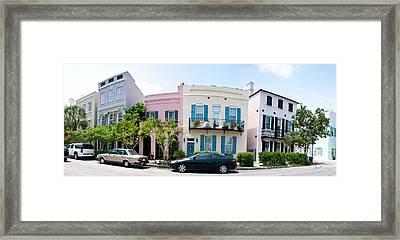 Rainbow Row Colorful Houses Framed Print