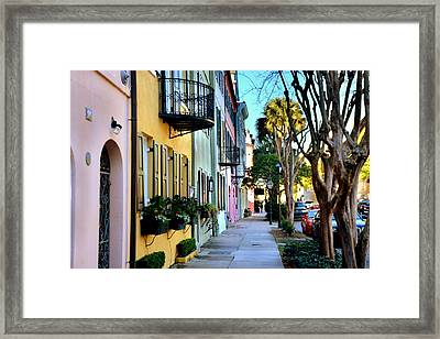 Rainbow Row Hdr Framed Print