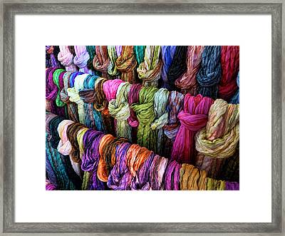 Framed Print featuring the photograph Rainbow Scarfs  by Kim Andelkovic