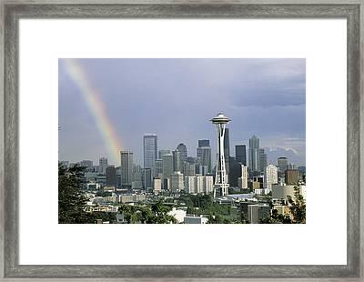 Rainbow Seattle Wa Framed Print