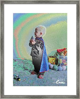 Rainbow Sherbet Little Ninja Boy Framed Print by Feile Case