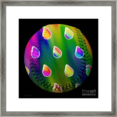 Rainbow Showers Baseball Square Framed Print by Andee Design