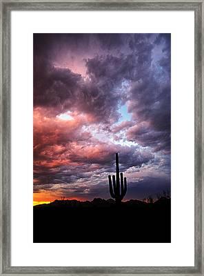 Rainbow Skies At Sunset  Framed Print