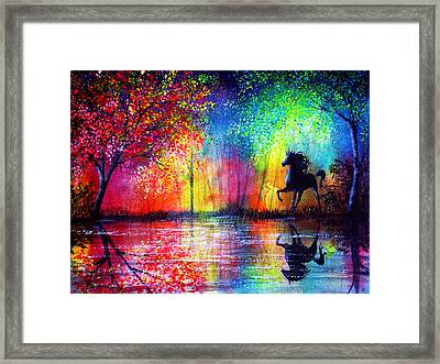 Rainbow Stallion Framed Print by Ann Marie Bone