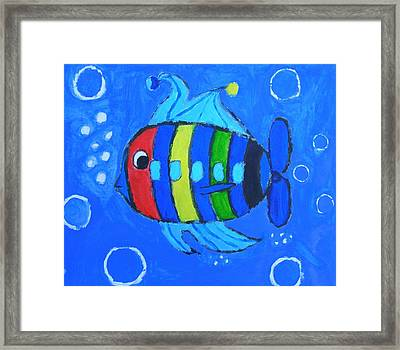 Rainbow Submarine Fish Framed Print by Artists With Autism Inc