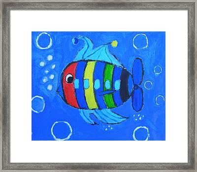 Rainbow Submarine Fish Framed Print