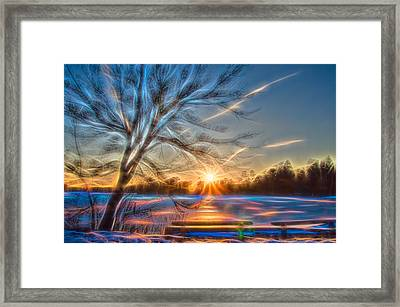 Rainbow Sunset On Snow Covered Lake Framed Print