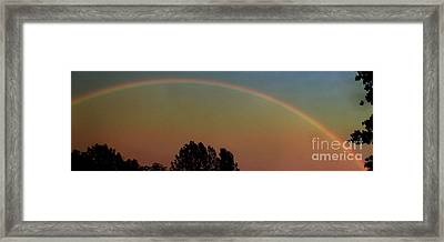 Rainbow Sunset Silhouette Framed Print