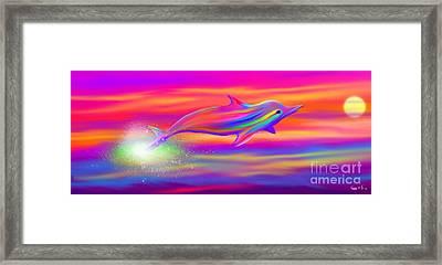 Rainbow Tide Dolphin Framed Print