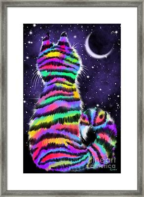 Rainbow Tiger Cat Framed Print by Nick Gustafson
