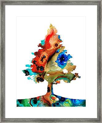 Rainbow Tree 2 - Colorful Abstract Tree Landscape Art Framed Print by Sharon Cummings