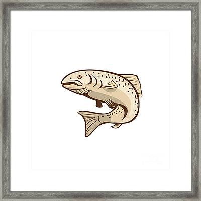 Rainbow Trout Jumping Cartoon  Framed Print by Aloysius Patrimonio