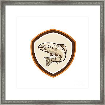 Rainbow Trout Jumping Cartoon Shield Framed Print by Aloysius Patrimonio