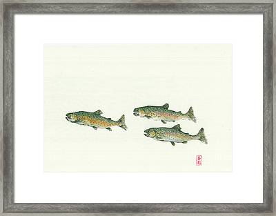 Rainbow Trout School Gyotaku Framed Print