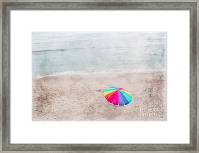 Rainbow Umbrella On Beach Framed Print by Linda Matlow