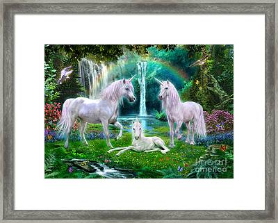 Rainbow Unicorn Family Framed Print
