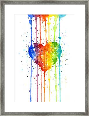 Rainbow Watercolor Heart Framed Print by Olga Shvartsur