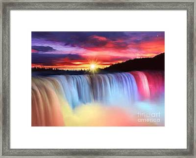Rainbow Waterfall Framed Print