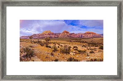Rainbow Wilderness Panorama At Red Rock Canyon Before Sunrise - Las Vegas Nevada Framed Print