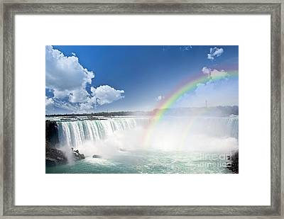 Rainbows At Niagara Falls Framed Print