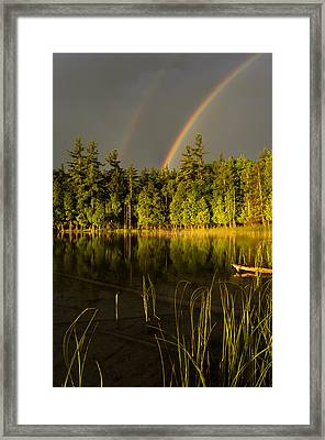 Rainbows Over Otter Lake Framed Print by Thomas Pettengill