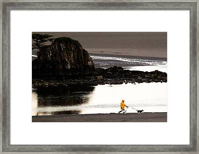 Raincoat Dog Walk Framed Print by John Daly
