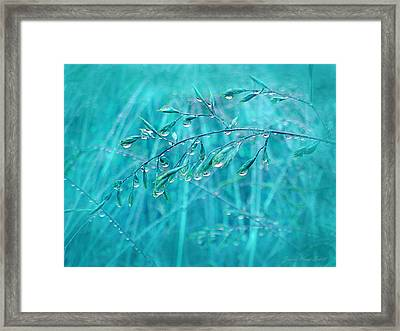 Framed Print featuring the photograph Raindrops Falling On Teal Blue Grasses by Jennie Marie Schell
