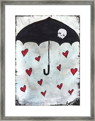 Framed Print featuring the painting Raindrops Of Love by Oddball Art Co by Lizzy Love