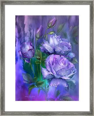 Raindrops On Lavender Roses Framed Print