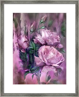 Raindrops On Pink Roses Framed Print